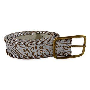 Linea Pelle Silver Tooled Bonded Leather Belt